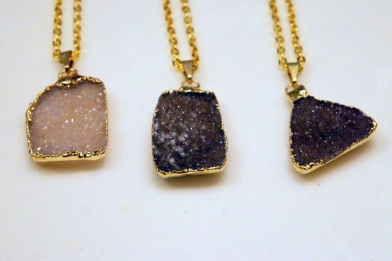 Gold Plated Agate Druzy Pendants
