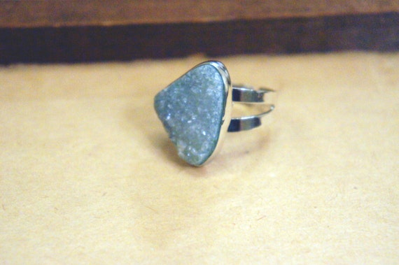 Triangle Blue Agate Druzy Ring