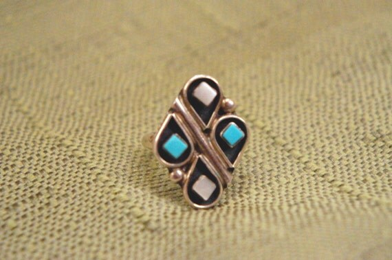 Abstract Native American Turquoise Ring Size 6
