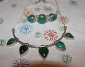 Sterling & Malachite Set of Necklace and Bracelet