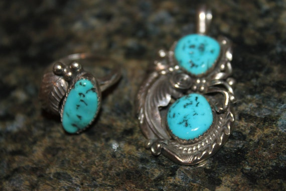 Native American Turquoise & Sterling Pendant and Ring Set