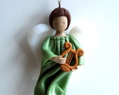 Christmas angel ornament, polymer clay angel light green with harp