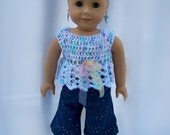 American Girl doll clothes - 3 Piece outfit includes crocheted top, denim capris, and matching denim shoes.  Made to fit 18 inch dolls