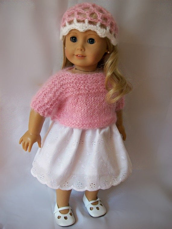 American Girl doll clothes - Pink hand knitted mohair sweater and beanie hat, and white eyelet skirt - Outfit made to fit 18 inch dolls.
