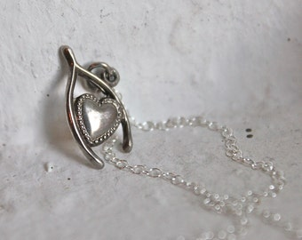 Vintage Sterling Silver Wishbone and Heart Necklace, Valentines Gift, Sweet and Romantic