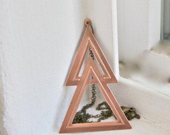 Brass Triangle Necklace, Geometric Triangle Necklace