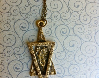 Brass Triangles Necklace, Geometric Triangles Necklace
