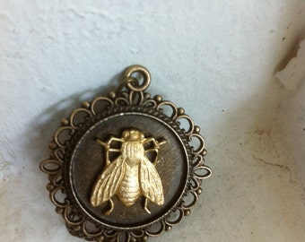 Fly Cameo Necklace