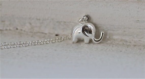 Sterling Silver diamond cut ball chain Elephant Necklace -Reserved......