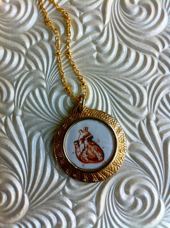 Heart Necklace - Anatomical Heart Print