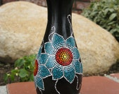 Alyssa: Black and Turquoise, Hand-Dot-Painted, Wooden Decorative Vase