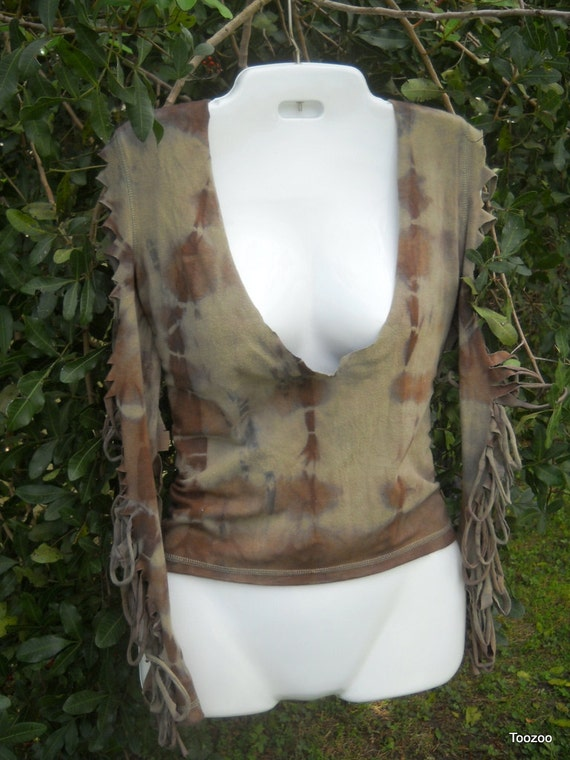 Women's Large Hunger Games Destruction Futuristic Organic Tie Dyed, cut out,Ripped T-Shirt