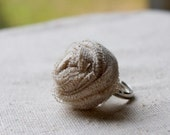 linen fabric rosette ring - adjustable silver base - shabby chic and charming