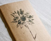 moleskine journal. botanical original print wildflower daisy. kraft paper. gift for nature lover and writer. for man or woman unisex
