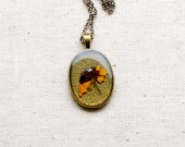 pressed flower necklace real woodland jewelry pendant handmade botanical necklace. black eyed susan golden yellow wildflower, texture nature