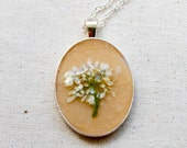 pressed flower necklace white bouquet real pressed botanical Pendant Jewelry with Handmade Paper - resin jewelry spring summer earth day