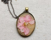 pressed flower necklace pink delphinium pressed botanical Pendant Jewelry with Handmade Paper - resin jewelry spring summer tea party garden