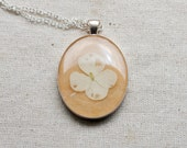 pressed flower necklace cream white distressed hydrangea botanical Pendant Jewelry with Handmade Paper - resin jewelry spring summer cottage