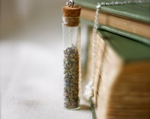 botanical vial necklace. preserved specimen corked top lavender buds. studiobotanica. botanist.