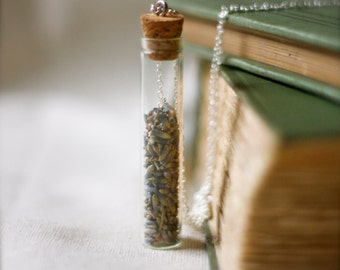 botanical vial necklace. preserved specimen corked top lavender buds. studiobotanica. botanist.