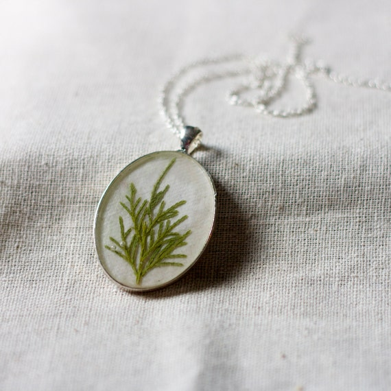 pressed pine christmas tree pendant handmade real winter holiday botanical resin necklace farmhouse cottage sage green woodland evergreen