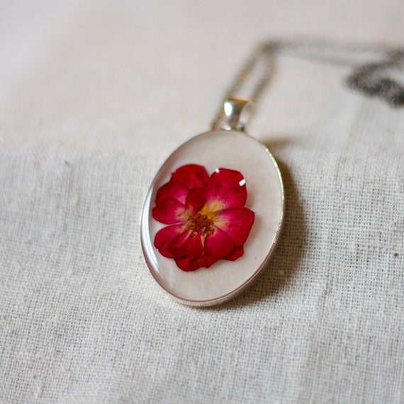 Items Similar To Pressed Flower Necklace Red Rose Petals
