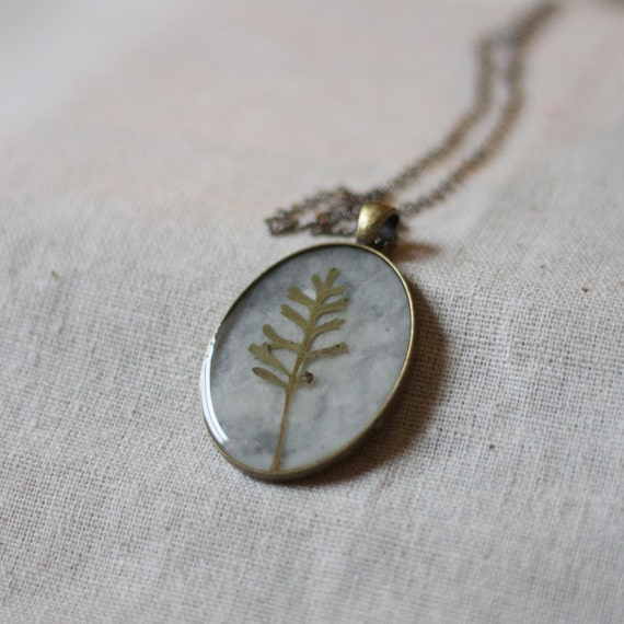 on sale NO CHAIN handmade resin jewelry pressed fern necklace natural botanical sage green necklace from my woodland shade