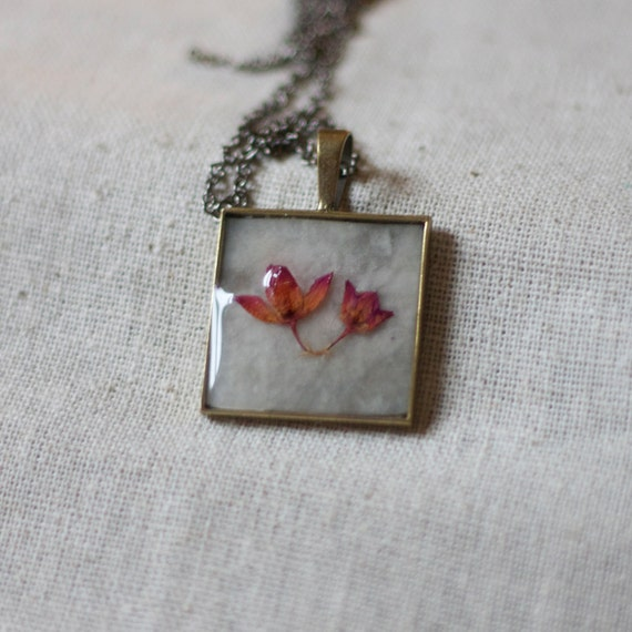 on sale NO CHAIN real pressed flower necklace resin necklace red rose bud pair in resin. shabby chic square pendant. preserved.