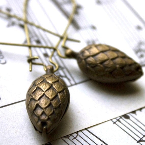 ON SALE dangle earrings woodland pine cone brass earrings for winter holiday christmas. festive lightweight brass botanical earrings.