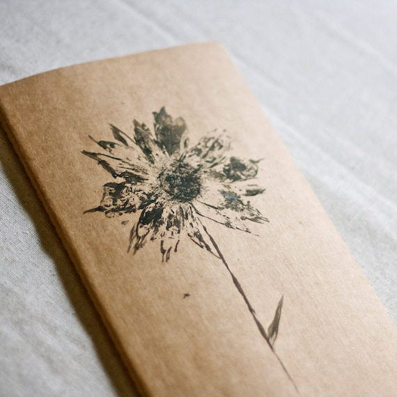 moleskine journal. botanical original print wildflower daisy. kraft paper. gift for nature lover and writer. for man or woman unisex