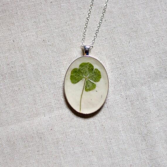 RESERVED FOR NICOLE our leaf clover real pressed leaf botanical pendant. sage green 4 leaf clover set in resin