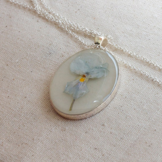 ON SALE pressed flower necklace light pale blue botanical Pendant with Handmade Paper - resin jewelry spring summer garden mothers day