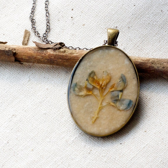 Texas Blue Bonnet real pressed botanical Pendant Real Botanical Jewelry with Handmade Paper in a bronze plated setting pressed flower