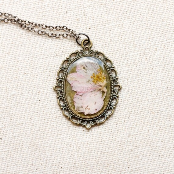 pressed flower necklace pink delphinium in bronze filigree setting resin jewelry shabby chic cottage farmhouse prairie