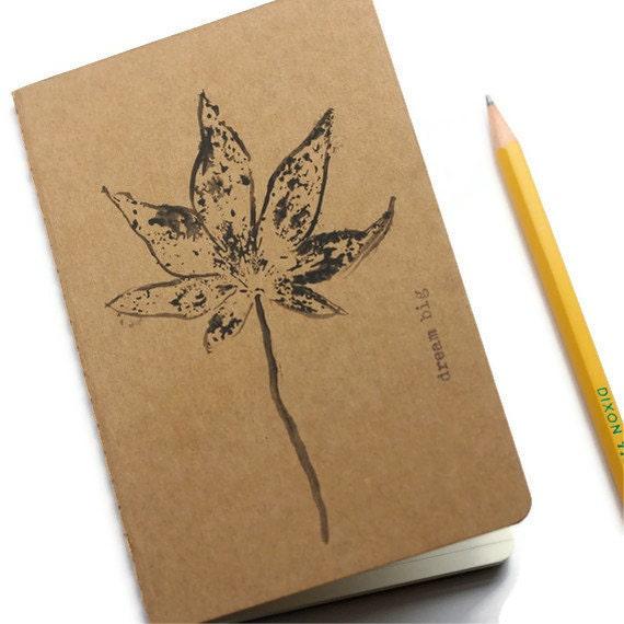 moleskine journal. botanical original tulip leaf print. kraft paper. gift for nature lover and writer. for man or woman unisex