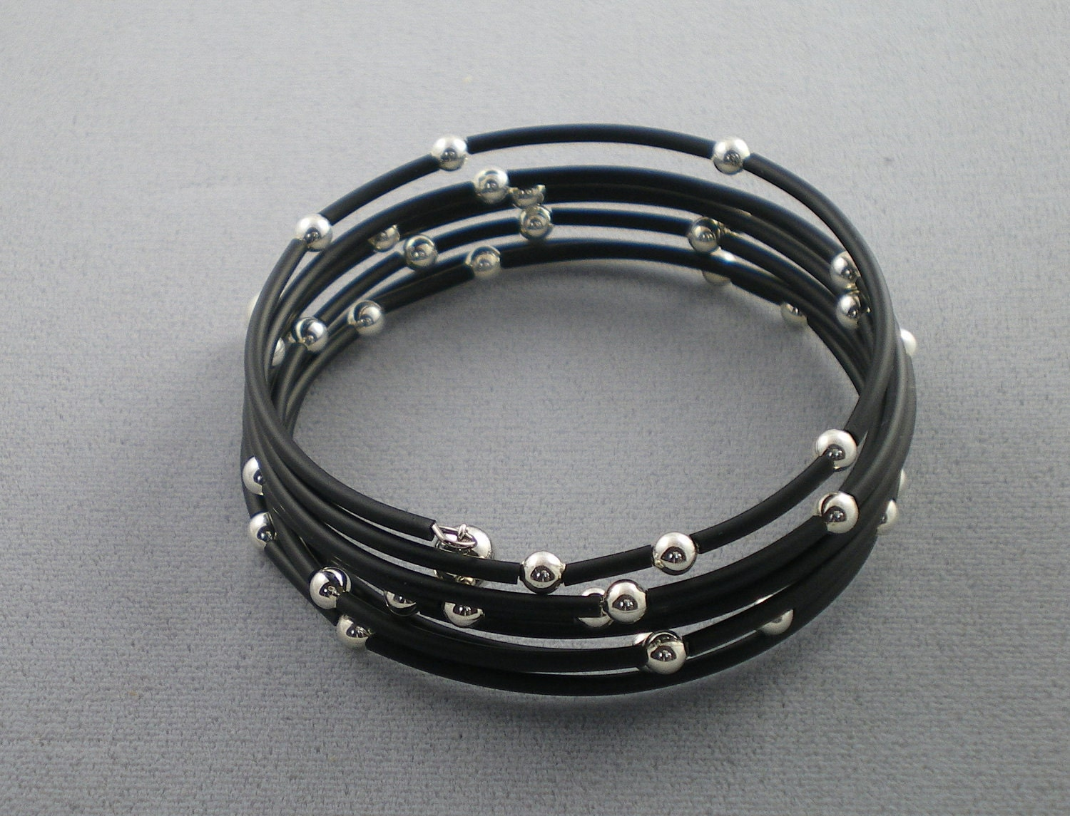 Starry Night Black Rubber And Sterling Silver Memory Wire