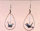 Origami Crane Earrings in Dangling Hoop