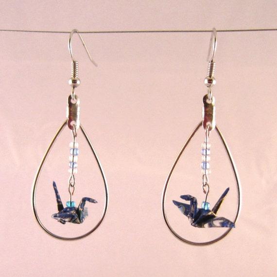 Origami Crane Earrings in Dangling Hoop by UsefulOrigami ... - photo#26