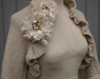 Bridal shawl, wedding shawl, bridal accessories, wedding accessories, bridal gift, wedding gift, knit shawl, bridesmaid gift, bolero jacket