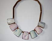 Vintage Bib Necklace Easter Spring Boho Style Brass Mother of Pearl Pink Blue