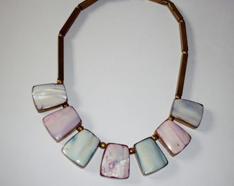 Vintage Bib Necklace Easter Spring Boho Style Brass Mother of Pearl Pink Blue