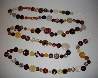 Vintage Button Garland Vintage Buttons 9 ft. Victorian Burgundy Gold Red