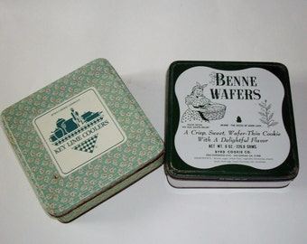 SALE Vintage Advertising Tins Byrd Cookie Co. Southern Americana Benne Wafers Key Lime Coolers