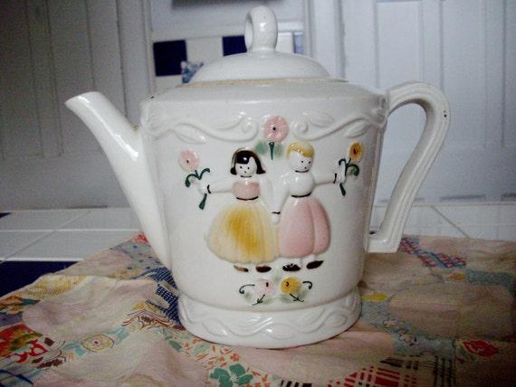 Vintage Teapot Porcelier Dutch Girl Boy