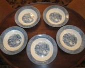 "RESERVED FOR M., please:  Set of 5 Currier and Ives Blue Transferware 8"" Bowls"