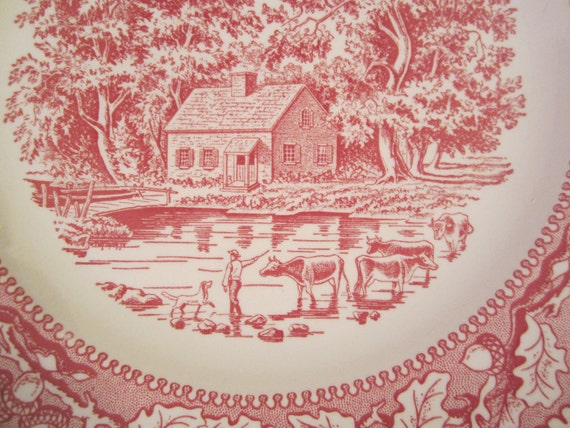 1965 Memory Lane Red Transferware Plate, Made by Royal China, Sebring, Ohio