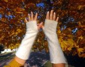 White Angora Rabbit Hair Fingerless Gloves