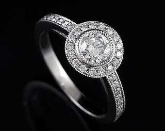 14K White Gold Round Diamond Micro Pave Milgrain Halo Engagement Ring