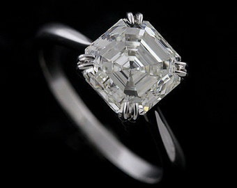 Platinum Solitaire Asscher Cut Diamond Engagement Ring Mounting