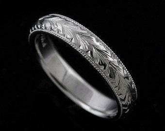 Rounded Hand Engraved Men's Wedding Ring, Eternity Milgrain Men's Ring, Wheat Engraved Men's Ring, Vintage Style 5mm Platinum Men's Ring